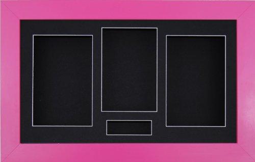 BabyRice x 21.59 cm, Strong Pink (3D-Rahmen, 4 Schwarz Passepartout, schwarzer Hintergrund