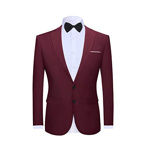 Allthemen Mens Casual Blazer Slim Fit Formal Business Suit Jackets with Bow Tie 2 Button Single Breasted Wedding Tuxedo Jacket Smart Blazer Wine Red M