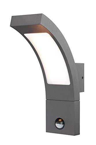 Moderne LED Sensor Außenwandleuchte Lichtfarbe warmweiß 3000K, Leistung 6,5 Watt 520 lm, Einstellbarer Bewegungsmelder mit max. 9m Reichweite, (B x H x T): 8,4 x 27 x 17,6 cm Wandlampe IP54 201172