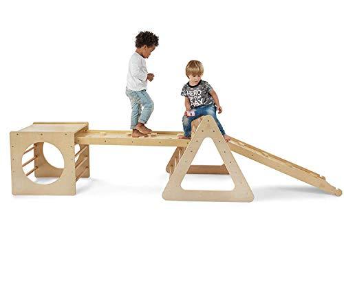 Mami | Triángulo de Pikler + Cubo de Pikler + 2 rampas | Estructura de escalada para niños de interior | Fabricado en madera natural
