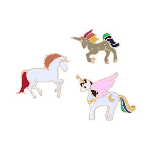 ZSCZQ Alfileres de Esmalte de Caballo de Dibujos Animados, Bonitos broches de Pegasu, Chaquetas con Insignia, Mochila, Pin de Solapa, joyería de Animales, Regalo para niños, Accesorios