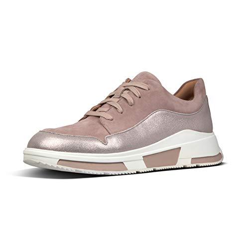 Fitflop Freya Suede Sneakers Zapatillas sin Cordones, Mujer, Beige/Azul Oscuro, 39 EU