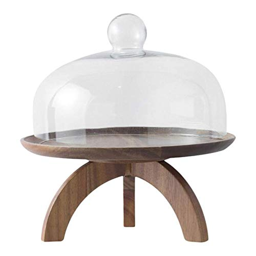 Fruit Bowl Sirviendo High Pie de madera Tray Bandeja Postre Bandeja de almacenamiento de frutas con cubierta de vidrio Pantalla Postre de té Postre de caramelo Decoración de la mesa de la mesa de la f