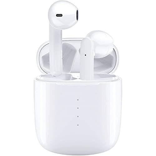 Wireless Earbuds Bluetooth 5.0 Headphones with Charging Case, IPX8 Waterproof, 3D Stereo Air Buds in-Ear Ear Buds Built-in Mic, Open Lid Auto Pairing for Android/Samsung/Apple iPhone - White