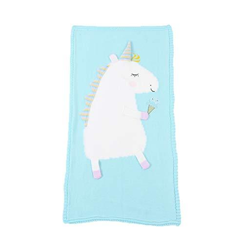 Bonito patrón de punto para bebé, suave, cálido unicornio de punto de ganchillo para niños recién nacidos siesta mantas de ropa de cama de toalla de dormir envoltura verde verde Talla:Baby