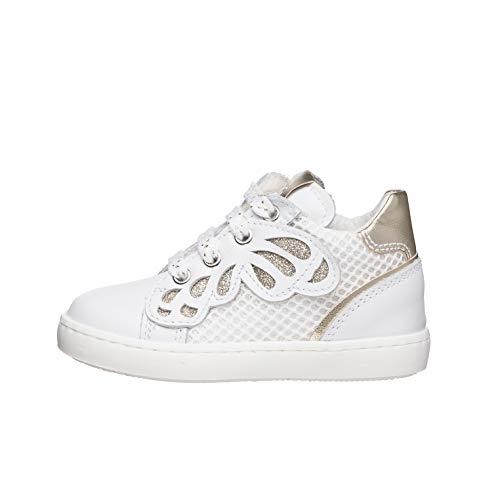 Nero Giardini E021380F Sneakers Kids da Bambina in Pelle E Tela - Bianco 28 EU