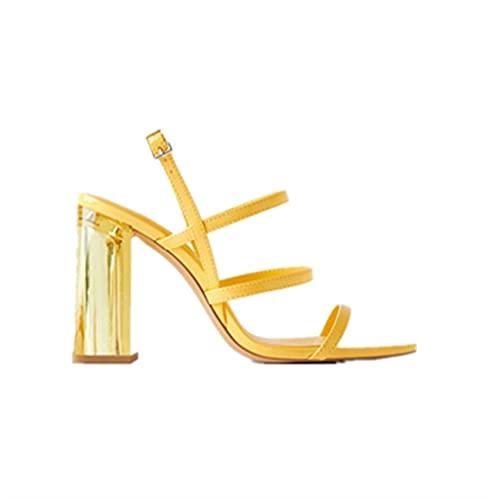 Sandalias de estilo romano sexy con correa desnuda y puntera abierta, para fiestas, cenas, tacones altos, suela de goma antideslizante (color: amarillo, tamaño: 38EU)