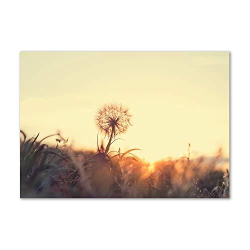 Tulup Glas-Bild Wandbild aus Glas - Wandkunst - Wandbild hinter gehärtetem Sicherheitsglas - Dekorative Wand für Küche & Wohnzimmer 100x70 - Blumen & Pflanzen - Pusteblume - Gelb