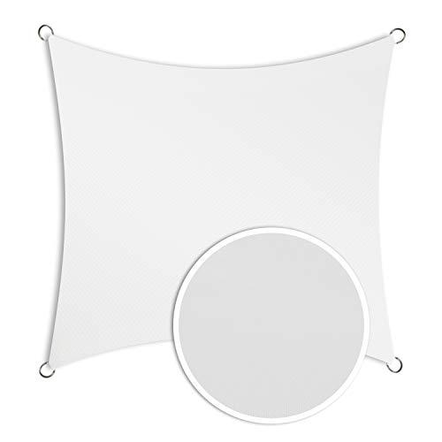 Schramm® Sonnensegel quadratisch in 4 verschiedenen Größen und 2 Farben Sonnen Segel Sonnenschutz Sichtschutz Windschutz, Farbe:Weiss, Größe:4 x 4 m