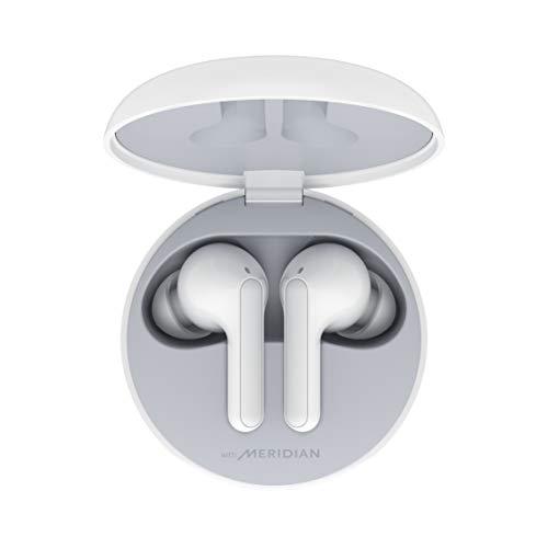 LG Cuffie Bluetooth Wireless In Ear TONE Free FN4 White, Auricolari Bluetooth 5.0 Senza Fili Meridian Audio, Impermeabili, con Custodia da Ricarica, Comandi Touch, Doppio Microfono, per iOS Android PC