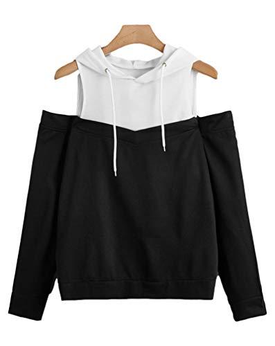 Suéter con Capucha de Fugas de Gran tamaño, Camisa con Capucha para Mujer, Camisa de Manga Larga para Mujer, Chaqueta de Chaqueta de Jersey de Ropa Deportiva de Moda C1-XX-Large