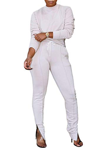 Women Solid 2 Piece Outfits Crew Neck Top and High Waist Slit Pants Sport Jumpsuits Sweatsuit Set(White,XXL)