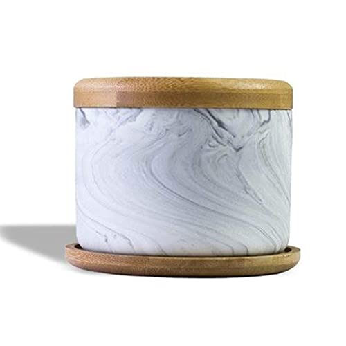 FBDGNG Cenicero de cerámica portátil para ahumar cenicero con tapa de bambú de acero inoxidable, bandeja de cenicero de mesa, decoración para el hogar y la oficina (tamaño mediano), pequeño