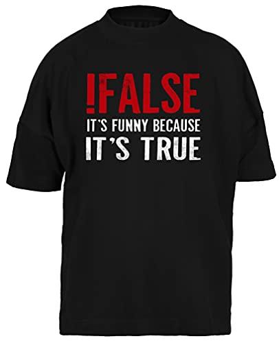 False It's Funny Because It's True Programmer Camiseta Holgada Negra para Hombre Mujer Unisex Mangas Cortas Black Baggy Tshirt Unisex XXL
