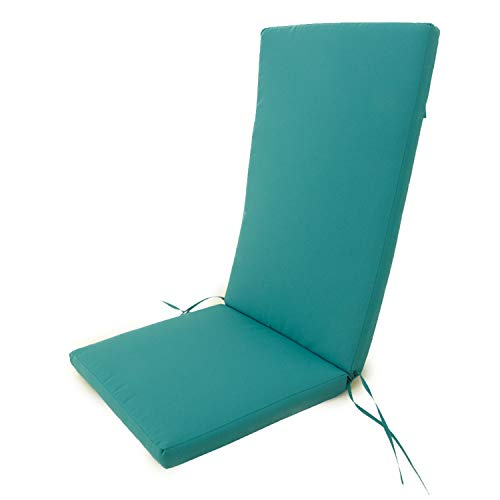 Edenjardi Cojín para sillones de jardín reclinables Color Turquesa, Tamaño 114x48x5 cm, Repelente al Agua, Desenfundable