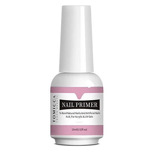TOMICCA Prep Bond Primer, Professional Natural Nail Bond Primer, Superior Bonding Acid Free Primer 0.52 oz for Gel Nail Polish Builder Gel, Adhesive UV LED Gel Tips Manicure Tips Functional Use