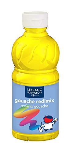Lefranc Bourgeois - Gouache liquide Redimix pour enfants - Bouteille 250ml - Jaune primaire