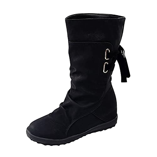 DKBL Long Boots for Women Platform Long Boots Winter and Autumn Boots Lace Up Boots Cashmere Warm Snow Boots Black