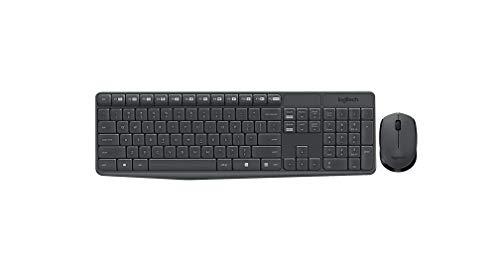 Logitech MK235 Combo Teclado y Ratón para Windows, Disposición QWERTY Pan Nordic, Gris