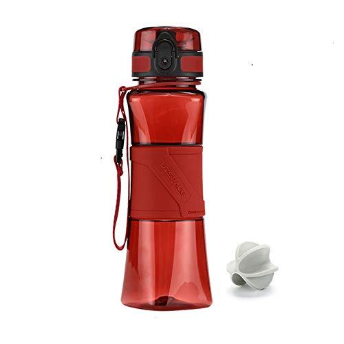 FMM Sports Bouteille Shake Bouteille créatif Protection de l'environnement étanche à l'eau Tritan BPA Gratuit Sports de Plein air Fitness école Camping randonnée Rouge 350 ML
