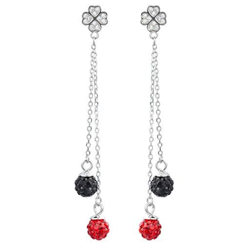 Aretes con forma de bola de diamantes y hierba de cuatro hojas Adorno de oreja larga de flujo Plata para mujer