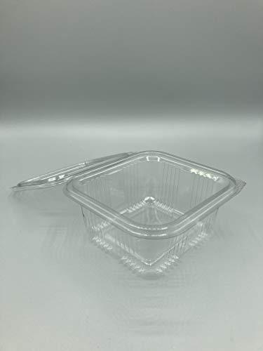 Enpack PET 500 ml Einwegverpackung für Lebensmittel - Salatbehälter - Servierbehälter - Soßenschale - Salatbox mit anhängendem Deckel - Klappdeckel Schale - Kälte und Hitze beständig (100)