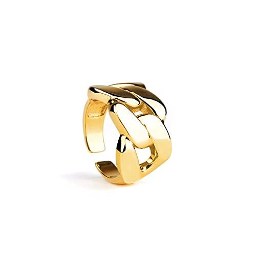 Bague chaine ajustable en argent plaqué or 18 carats 18K - Bague plaqué or - Argent 925 sterling - Bague ajustable – Bijoux fantaisie femme