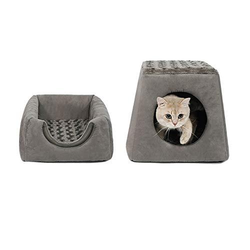 Suiyue Tech. Cueva de Gatos Cachorros Cama Acogedora para Mascotas Plegable Extraíble Nido Calentito de Felpa para Gato Perro Casa de Mascotas Interior