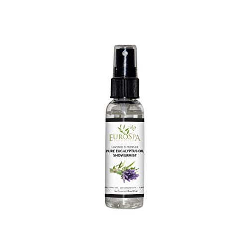 EuroSpa Aromatics Pure Eucalyptus Oil ShowerMist and Steam Room Spray, All-Natural Premium Aromatherapy Essential Oils - Lavender Infused, 2oz