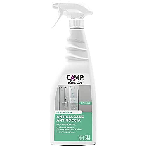 Camp BRILL DOCCIA, Detergente anticalcare protettivo antigoccia per box doccia, Rimuove il calcare e ne rallenta la formazione