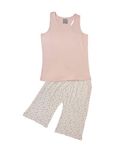 Urban Woman dames pyjama lounge dragen roze vest en wit gevlekt drie kwart broek
