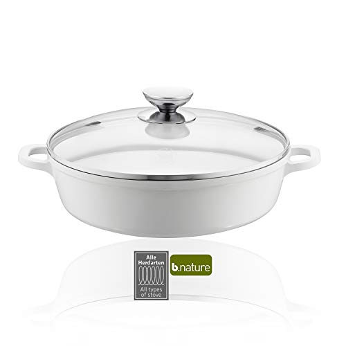 Berndes 032169 Vario Click Induction White Schmorkasserolle mit Glasdeckel 32 cm