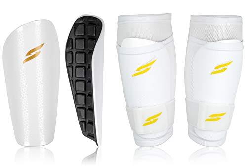 Syfly ® – Schienbeinschoner [3er Set] für optimalen Schutz ohne zu verrutschen - Schienbeinschoner Fußball für Kinder (Weiß) – Inkl. Stutzenhalter