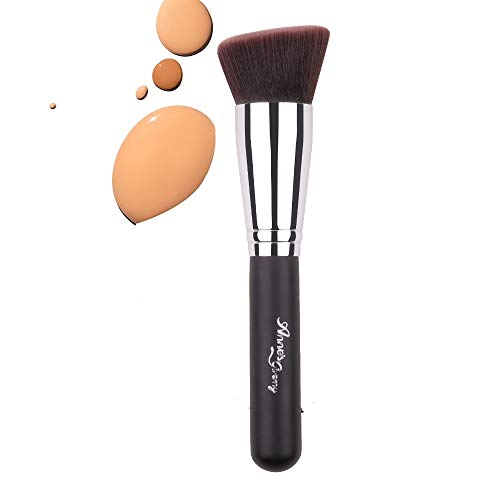 Anne's Giverny Flat Angled Foundation Brush Face Kabuki Makeup Brush for Blending Liquid Powder BB Cream Buffing Bronzer