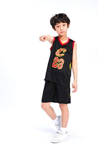 KKSY Basketball Trikot Kinderanzüge Herren und Damen Basketball Trainingsuniformen Cleveland Cavaliers James Trikots Geeignet für Kindersport Fitness,Black,M