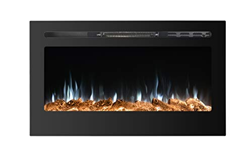 PAOLFOX 36 Inches Wall Mounted Recessed Electric Fireplace Heater Touch Screen Control Panel Overheating Protection Timer 9 Multicolor Flames,750/1500W, Log & Crystal Hearth Options