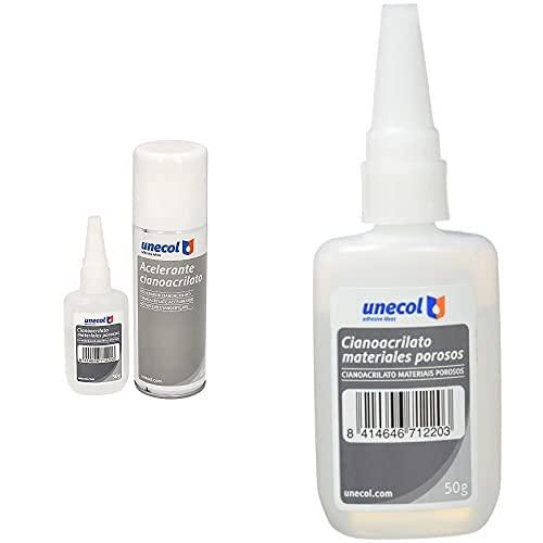 Unecol 7156 Kit Accelerante Aerosol + Cianoacrilato Para Materiales Porosos (Botella), 200 Ml + 50 Ml + Hiteglue - Adhesivo Cianoacrilato Hiteglue 200 50G