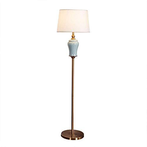 GLXLSBZ Lámparas de pie, lámpara Alta para Sala de Estar con Pantalla de Tela, Cuerpo de lámpara Hecho a Mano de cerámica y Metal, Dormitorio Art Deco