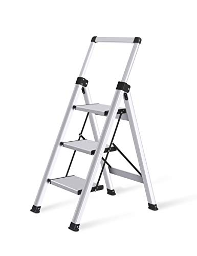 Xinsunho Retractable Handgrip 3 Step Ladder Safety Wide Pedal Step Stool Aluminum 300lbs Capacity Slim Design Ladder