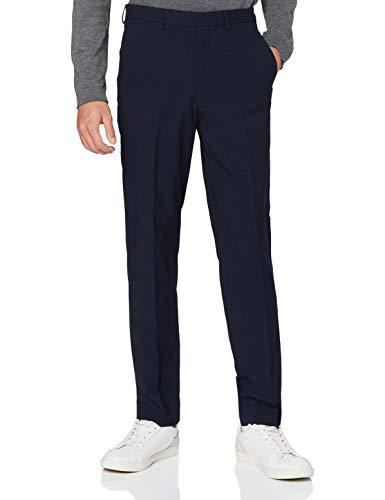 Marca Amazon - find. Pantalón de Traje Entallado para Hombre, Azul (textura marina)., 30W / 32L, Label: 30W / 32L