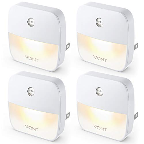 Vont 'Aura' LED Night Light (Plug-in) Super Smart Dusk to Dawn Sensor, Auto Night Lights Suitable for Bedroom, Bathroom, Toilet,Stairs,Kitchen,Hallway, Kids,Adults,Compact Nightlight (4 Pack)