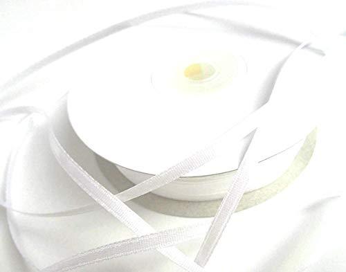 CaPiSo Nastro di raso da 100 m, 3 mm, nastro decorativo per matrimonio, Natale (bianco)