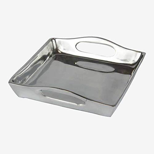 Better & Best Plateada Bandeja Cuadrada Asas, Medidas 19,4x18x4,4 cm, Material: Metal, Talla única