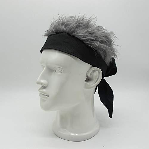 Kreative Baumwolle Stirnband Perücke Hut im Freien Kavallerie Tik Tok mit dem Hip Hop lustigen Hut (Grau)
