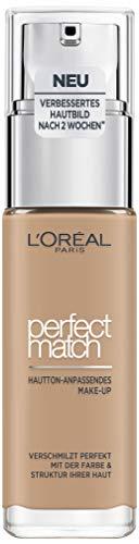 L'Oréal Paris Make up, Flüssige Foundation mit Hyaluron und Aloe Vera, Perfect Match Make-Up, Nr. 5.N Sand, 30 ml