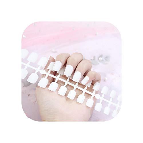 Nail Factory 24 pcs Givré Mat Ongles Pour Les Femmes Couleur Unie Faux Ongles Pleine Couverture Court Faux Conseils Ongles Artificiels-TJP720-Y4-