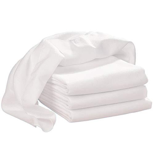 Bornino Le lot de 4 carrés en flanelle 80 x 80 cm couche en tissu, blanc