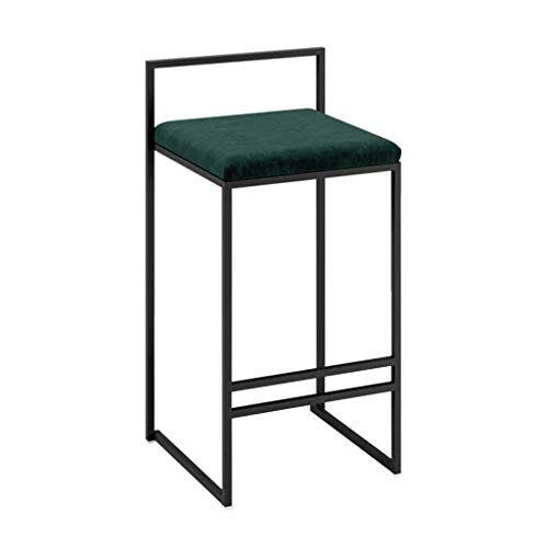 AYU Metal Bar Stool, Classic Barstool with backrest and 4 Black Metal Legs, Counter Stool Green Velvet Upholstered Seat, Kitchen Dining Room Side Chairs, Seat Heigth 29.5inch