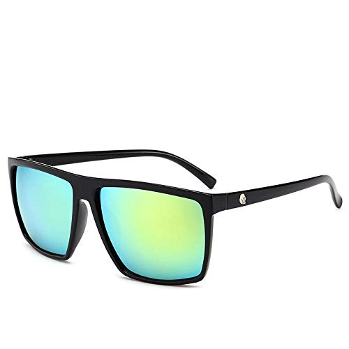 hqpaper Gafas de sol retro cuadradas con calavera-Marco negro película dorada