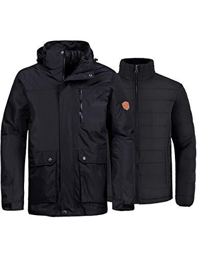 Wantdo Men's 3-in-1 Ski Jacket Waterproof Winter Puffer Jackets Snow Coat Black S